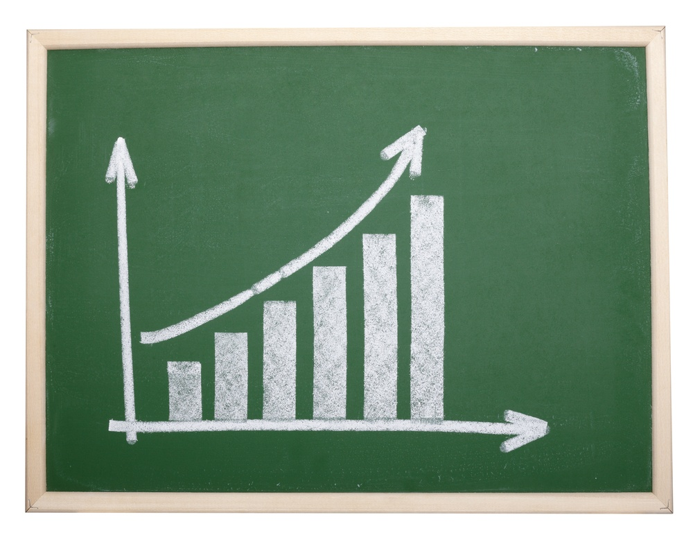 close up of chalkboard with finance business graph